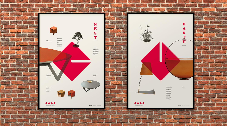 Design Graphique pour illustrer les collections Nid et Terre